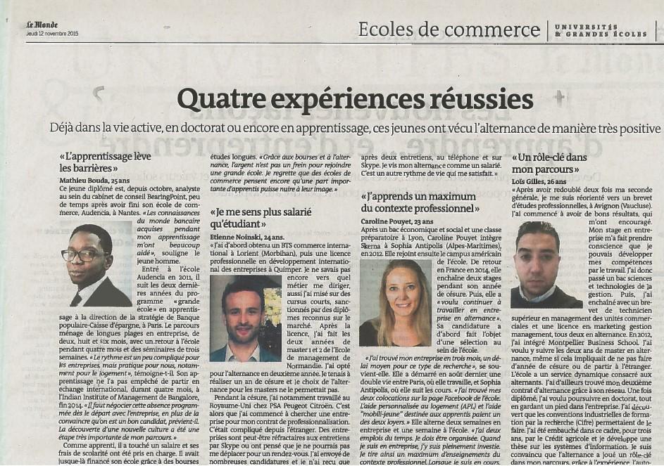 L'alternance : un rôle clé dans mon parcours - Le Monde - 12/11/2015